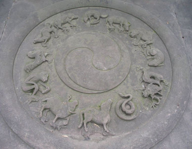 Yin-yang and animals of the Chinese zodiac. Qingyanggong temple, Chengdu, Sichuan Province, China. Photograph: Felix Andrews (Flobyx) / https://creativecommons.org/licenses/by-sa/3.0/deed.en.