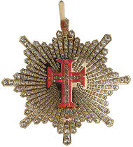 Lot 595: ORDERS / PORTUGAL. Military Order of Christ. 3rd model (since 1918), Grand Officer Breast Star of the Order in brilliants, gold, enamel, and simili stones. Extremely rare. II. Estimate: 20,000,- euros. Hammer price: 26,000,- euros.
