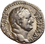 Lot 19: Denarius. Vespasian (69-79 AD). Ephese. July-December 69 AD. RIC 1401 (R3). VF. Extremely rare and rarely offered on the market. Nice portraits on reverse. 1950,- euros.