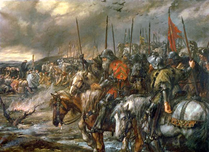 Morning of the Battle of Agincourt. Painting by Sir John Gilbert, 1884.