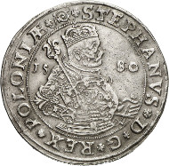 Lot 4854: POLAND. Stephen Bathory, 1576-1586. Thaler 1580, Olkusz. Extremely rare. Nearly extremely fine. Estimate: 50,000,- euros. Hammer price: 90,000,- euros.