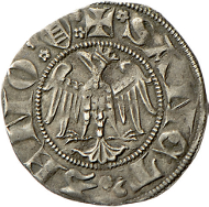 Since 1311, the meinhardzwanziger were imitated even in Verona to which the ladder, the coat of arms of the Scaliger, above the beak of the eagle points. Rizzolli-Pigozzo fig. 48.