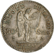 Louis XVI, King of France (1774-1792). 30 sols (1/4 écu constitutionnel) 1791. Head of Louis to the left. R. Winged, upright genius to the right, inscribing a table with the word