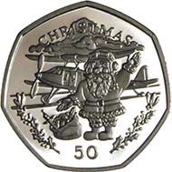 The reverse of the 1996 Gibraltar Christmas coin shows Father Christmas getting ready to get into an aeroplane. Source: Serge Pelletier.