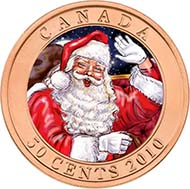 The reverse of the 2010 50-cent lenticular piece from Canada alternates from an image of Santa to one of Rudolph the red-nosed reindeer. Source: Royal Canadian Mint.