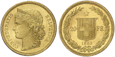 Swiss Confederation. 20 francs, 1883, Bern. Personified Helvetia with diadem and Alpine rose wreath facing left. R. Swiss coat of arms in a laurel and oak wreath. © MoneyMuseum, Zurich.