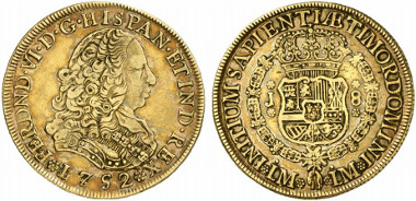 Peru, Fernando VI, 1746-1759. Escudos 1752 LM-LM, Lima. Ex Künker Auction 197 (September 28, 2011) lot. 6641.
