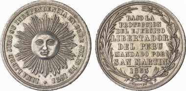 Peru, Republic since 1822. Silver medal 1863 by R. Britten, on the 42nd anniversary of independance from Spain. Ex Künker Auction 138 (March 11, 2008) lot. 5969.