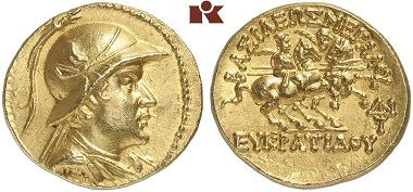 A coin Michel Sapin would love to call his own: gold stater of the Bactrian ruler Eucratides I (ca. 171-145 BC). From Kuenker Auction 270 (October 2, 2015) lot 8410.