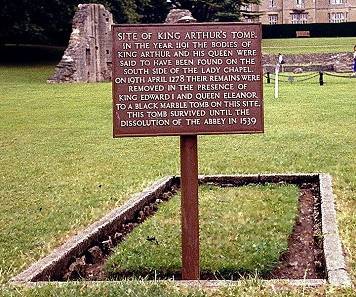 Plate indicating the former location of the tomb of King Arthur and Queen Guinevere at Glastonbury Abbey. Photograph: Tom Ordelman / https://creativecommons.org/licenses/by-sa/3.0/deed.en.