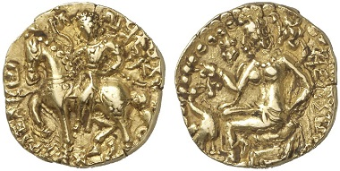 Gold stater from the time of Kumaragupta (AD 414-455). From Künker Auction 226 (March 11, 2013) lot 1228.