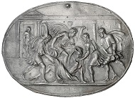 Plaquette by Valerio Belli (c. 1468-1546) featuring the assassination of C. Julius Caesar (44 v. Chr.), HMB Inv. 2014.561.
