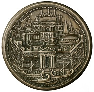 Medal by Alessandro Cesati featuring Dido of Carthage, the legendary partner of Aeneas, on the reverse with a view of Carthage, with the Column of Trajan, the Colosseum and Pantheon, HMB Inv. 1915.312.