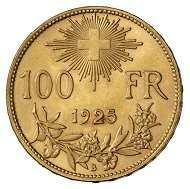 Swiss Confederacy. 100 francs 1925, Bern. Bust of a woman in traditional rural garb facing left, against a mountainous landscape. R. Swiss cross surrounded by aureola above nominal value and year of issue, below Alpine rose branch. © MoneyMuseum, Zurich.