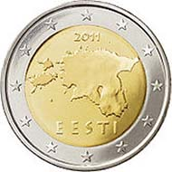 The new Estonian Euros. Photo: Wikipedia.