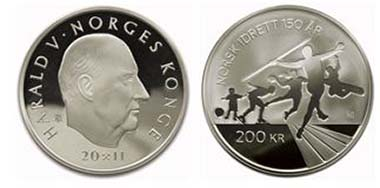Norwegian Olympic and Paralympic Committee and Confederation of Sports. 200 NOK 2011 - Mintage: 40 000 - 925/1000 Ag - 32 mm - 16.85 gr - Designer: Viktoria Kristiansen/ Ingrid Austlid Rise.