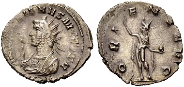 Catalogue No 496: Gallienus, 253-268. Antoninianus, 264. Rv. Sol.