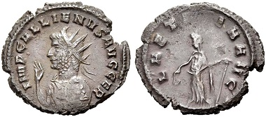 Catalogue No 495: Gallienus, 253-268. Antoninianus, 264. Rv. Laetitia.