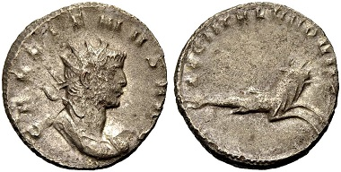 Catalogue No 496: Gallienus, 253-268. Antoninianus, 260. Rv. Hippocamp.