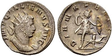 Catalogue No 462: Gallienus, 253-268. Antoninianus, 259. Rv. Diana.