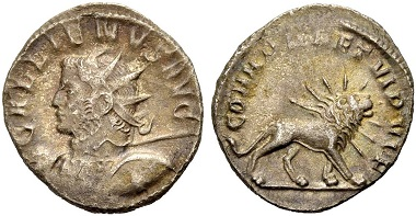 Catalogue No 485: Gallienus, 253-268. Antoninianus, 260. Rv. Radiate lion.