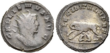 Catalogue No 473. Gallienus, 253-268. Antoninianus, 260. Rv. She-wolf with Romulus and Remus.