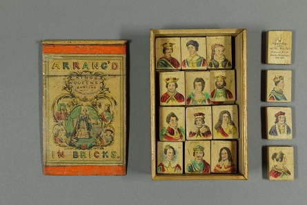 Arrang'd in bricks. The Kings & Queens of England with historical references.  [British, maker unknown, c. 1840]. A wooden box with illustrated label on the sliding lid. The 36 blocks, numbered chronologically, represent British monarchs from William I to Queen Victoria. © Bodleian Libraries, University of Oxford.