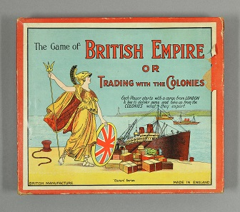 The new game of British Empire or Trading with the Colonies. Roberts 'Glevum' series [c. 1925]. Folded board (damaged), teetotum, dice, 3 metal ships, small sheets (to be cut up) listing British exports, small cards listing colonial exports with their country of origin. © Bodleian Libraries, University of Oxford.
