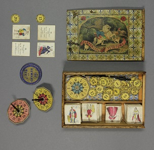 Historical tetotums. [Attributed to J.R. Barfoot, c. 1860]. Whitewood box covered and partly lined with stamped paper containing 36 numbered hand-coloured lithographed pictorial cards with corresponding numbered letterpress text cards, 4 teetotums, 4 rosewood spinners, 35 (of 36) numbered small circular cards (lacking card numbered 5) and a larger circular 'Reward of merit'. © Bodleian Libraries, University of Oxford.