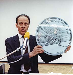Patrice Cahart, then president of the Monnaie de Paris shows a commemorative coin on the occasion of the Olympic Games in Albertville 1992.