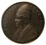 Restitutional medal by Girolamo Paladino on Pope Eugene IV (1431-1447), the reverse featuring the scales of justice and the motto REDDE CVIQUE SVVM (
