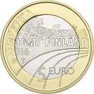 Finland / 5 euros / 27.25mm / 9.8g / design: Nora Tapper / Mintage: 50,000 (UNC), 10,000 (proof).