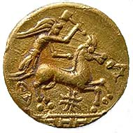 Fig. 1 Gallo-Belgic hammer-god in his golden sky-chariot
