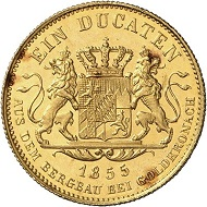 Maximilian II, 1848-1864. Ducat 1855. Later striking between 1906 and 1913. Only very few specimens known. Künker Auction 275 (2016), 4712. Estimated at the moment at 50,000 euros.