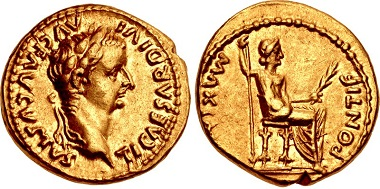 422767: Tiberius. AD 14-37. Aureus. Lugdunum (Lyon) mint. Group 2, AD 15-18. RIC I 27. Near EF. From the Byron Schieber Collection. $8750.