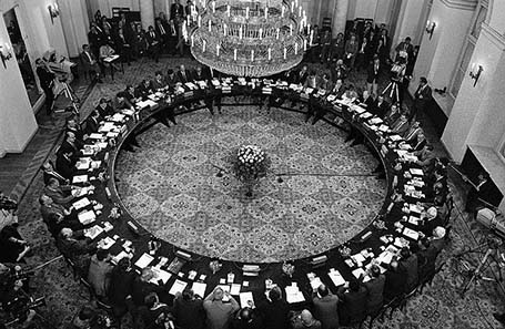 Polish Round Table Talks took place in Warsaw, Poland from February 6 to April 4, 1989. Published 1989 / Source: Wikipedia.)