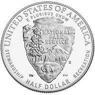 2016 National Park Service Proof Clad Half Dollar, issued by the US Mint, designed by Barbara Fox and Thomas Hipschen and sculpted by Michael Gaudioso and Charles L. Vickers