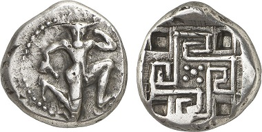 Daidalos was believed to be one of the builders of the famous labyrinth of Cnossos, in which the Minotaur lived. The two heroes can be seen on this coin from Gortyn. - Gortyn. Stater, about 425-360. From Gorny & Mosch Auction 224 (2014), 816.
