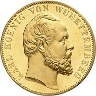 Lot 4916: WUERTTEMBERG. Charles, 1864-1891. Gold off-metal strike of 20 ducats from the dies of the double vereinstaler 1871 on the restoration of the Ulm Cathedral. Ex Vogel Collection. Extremely rare. Extremely fine to FDC. Estimate: 30,000,- euros. Hammer price: 38,000,- euros.