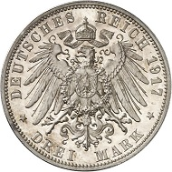 Lot 5747: GERMAN EMPIRE. Saxony. Frederick August III, 1904-1918. 3 mark 1917 E. Frederick the Wise. Proof. Estimate: 60,000,- euros. Hammer price: 70,000,- euros.