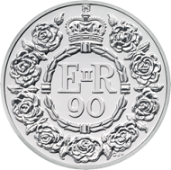 The celebratory garland designed by Christopher Hobbs features on all the commemorative coins in honour of Her Majesty The Queen?s 90th birthday like this GBP 20 silver coin. © The Royal Mint.