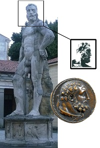 Hercules medal compared to the Hercules statue in the backyard of the palazzo of Marco Mantova Benavides (1489-1582), not far from the Church of the Eremitani where he also had his monumental wall tomb erected.