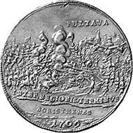 Russia. Peter I, 1689-1725. Gold medal 1709. On the Battle of Poltava. From auction Hess-Divo 300 (2004), 880.