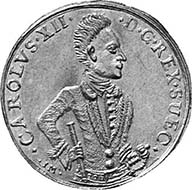 Charles XII, 1697-1718. On a coin from the Swedish territories: Pomerania. Double ducat 1706. From auction Hess-Divo 300 (2004), 386.