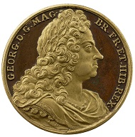 Jean Dacier, George I, 1727. Bronze (parcel gilt), 31.7 mm. Stephen K. and Janie Woo Scher Collection. Photo: Michael Bodycomb.