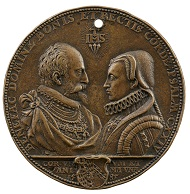 Attributed to Hubert Gerhard (ca. 1540-1550, d. before 1621). Wilhelm V and Renata von Lothringen, 1585. Bronze, 77.1 mm. Stephen K. and Janie Woo Scher Collection. Photo: Michael Bodycomb.