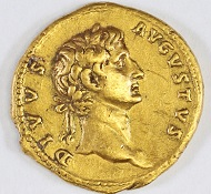 The coin was minted in 107 CE by Emperor Trajan and commemorates the first Roman Emperor Augustus. Photograph: Israel Antiquities Authority.