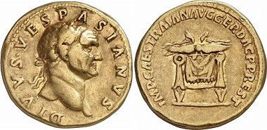 Another coin from this series. While aurei featuring Augustus are extremely rare, coins showing portraits of Vespasian and Titus can be found on the market from times to times. From auction sale Gorny & Mosch 159 (2007), 397.