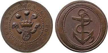 Lot 2628: Dorsetshire, Poole, Richard Allen. Copper Halfpenny, 1797 (one of only two known to exist). Sold: £4,080.