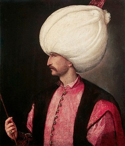 Suleiman the Magnificent on a painting attributed to Titian, ca. 1530.
